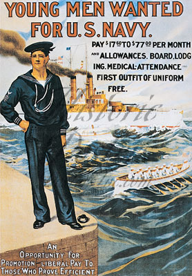 Young Men For Navy Poster