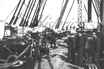 Civil War-Gun deck view of Federal Warship USS New Hampshire